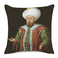 Wholesale middle east decor for sale - Group buy Hajj Muslim Pilgrimage to Mecca The Middle East Vintage Painting Cushion Cover X45cm Thick Linen Cotton Pillow Case Sofa Chair Decor
