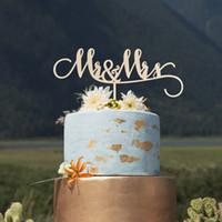 gâteaux d'anniversaire de mariage d'argent achat en gros de-M. et Mme Wedding Cake Topper, gâteau en bois d'anniversaire personnalisé, décor de fête de mariage rustique or miroir argent