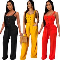 combinaison jaune pour femmes achat en gros de-Femmes Spaghetti Strap Backless bouton avant Bandage Barboteuses Tenues Club Red Casual Noir Jaune fête de la pleine Salopette