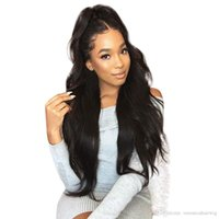 Wholesale lace wigs 1b 24 inch for sale - Group buy Synthetic Lace Front Wigs Women Long Natural Wavy Black B Hair Inch Natural Looking Heat Resistant Fiber Wig