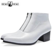 botas de tornozelo branco homens venda por atacado-Velo de Salto Alto Quente Botas de Couro Genuíno Dos Homens Apontou Branco Zíper Preto Trabalhar Ankle Boots Inglaterra Estilo Moda Vestido Sapatos