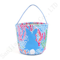 Wholesale flower tote bag pattern resale online - 3 cm Lilly Barrels Baskets Flowers Pattern Print Burlap Storage Bag DIY Easter Shopping Handbags Tote Easter Egg Candy Gifts Basket A21903