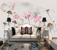 Wholesale hand painted chinese paintings resale online - custom size d wallpaper photo wallpaper living room bed room mural hand painted lotus Chinese picture sofa TV backdrop wallpaper sticker
