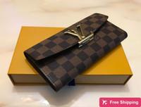 Wholesale vintage ladies purses resale online - 2020 big logo bottoms lady long wallet multicolor designer coin purse Card holder original box women classic zipper pocket sd11