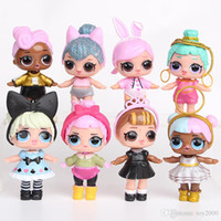 figuras de chicas al por mayor-9 CM LoL Dolls con biberón American PVC Kawaii Niños Juguetes Figuras de acción de Anime Realistas Muñecas Renacidas para niñas 8 Unids / lote juguetes para niños