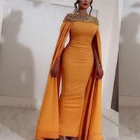 uzun çarpıcı gece elbiseleri toptan satış-Sarı Saten Uzun Abiye Saten Çarpıcı Boncuklu Kristaller Abendkleider Dubai Arapça Abiye giyim Geri Yarık Örgün Parti Elbiseler