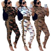 calças femininas legging venda por atacado-Jaquetas de grife das mulheres roupas legging 2 peça set treino outerwear calças justas esporte terno de manga curta cardigan calças treino klw0673 quente
