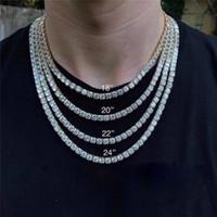 collar de cadena de oro real de 18k. al por mayor-Nuevo collar de cadena de tenis para hombres de hip hop, collar largo de cadena de diamantes de oro de 18 k con joyería para hombre de circón