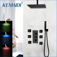 conjuntos de ducha led de pared al por mayor-Wall Mounted por mayor Negro Cuadrado ducha de latón cascada LED set Nuevo baño de ducha con mango de ducha de lluvia cabeza