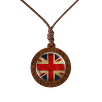pendant necklaces uk 2021 - Fashion National Flag Canada Usa Uk Wood Necklace Cabochon Jewelry Vintage Handmade Pendant Chain Souvenir Charm Gifts
