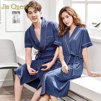 bata de dormir hombres al por mayor-JQ 100% Algodón Bata Hombres y mujeres a juego Kimono Sólido Con cinturón Cinturón de marca para la pareja 2019 Verano corto túnica para dormir