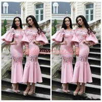 Wholesale wedding dress slim line lace resale online - Sexy Lace Short Bridesmaid Dresses Long Juliet Sleeve Slim Maid Of Honor Dress Evening Party Gowns Formal Prom Dress Wedding Guest Wear
