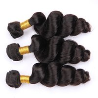 insan saçı örgü renk siyah toptan satış-malaysian Saç Dokuma Gevşek Dalga Paketler İnsan Saç Uzatma # 1B Doğal Siyah 1. Jet Siyah Renk Olmayan Remy 100g / Adet