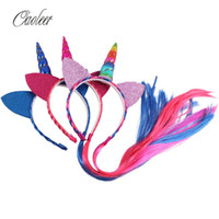 Wholesale girls black ponytail wig resale online - Rainbow Color Ponytail Unicorn Headbands With Glitter Ears For Kids Girls Princess Braid Wig Teeth Hairbands Hair Accessories