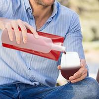 bolsas de botellas de vino de plástico al por mayor-Botellas de agua plegables plegables flexibles reutilizables Frasco de bolsa de vino de plástico a prueba de líquidos portátil para camping de viaje de barbacoa 12.5 * 27.5cm