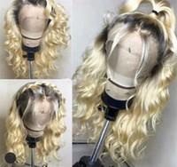 karanlık sarışın vücut dalga saç toptan satış-Ombre # 1B / 613 Dantel Ön İnsan Saç Peruk Çin Remy Saç Vücut Dalga Sarışın Peruk Ile 4 Inç Koyu Siyah kökleri