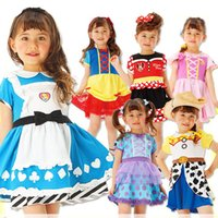 ropa de hadas para niñas al por mayor-Little Girls Party Princes Dresses 7+ Halloween Patchwork de Dibujos Animados Impreso Vestido Plisado Niños Diseñador Ropa Escenario Mostrar Traje 1-6T