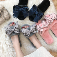 точечная зимняя обувь оптовых-12-Style Teenage girl sweet mesh polka dot butterfly fur slippers korean winter warm indoor shoes mules slides cozy flats female
