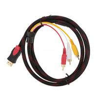 rca dizüstü bilgisayar toptan satış-5Ft 1.5 M HDMI Erkek Giriş 3 RCA Fiş Video Ses AV Kablo Adaptörü Dönüştürücü Bağlayıcı 1 adet Bilgisayar Dizüstü adaptörleri