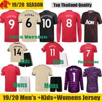kits de ventilador venda por atacado-19 20 manchester united POGBA camisas de futebol 2019 2020 Man UTD Fãs e Versão Jogador LINGARD RASHFORD camisa de futebol Homens Mulheres e crianças Uniformes