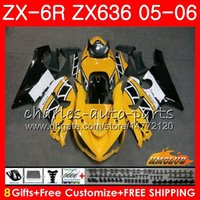 ingrosso corredo del corpo giallo di kawasaki giallo-Corpo per KAWASAKI NINJA ZX-636 giallo bianco ZX600 ZX 6R 600 ZX6R 05 06 35HC.62 ZX636 05 06 ZX 636 600CC ZX 6 R ZX-6R 2005 2006 Kit carenatura