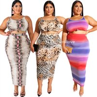 Wholesale animal tight suit resale online - Summer Two Piece Dress Sexy vest Tight skirt Casual dress Leopard print two piece suit Sexy crop top Package hip skirt