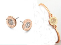 silberfarbene armbänder großhandel-Modemarke MK Tone Bangles runde charme Armbänder silber / gold / rose gold farben modeschmuck für frauen