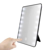 espejo de maquillaje batería al por mayor-Espejo de maquillaje RUIMIO con 8/16 LED Espejo cosmético con soporte Operado regulador táctil interruptor de la batería de mesa Baño de viajes