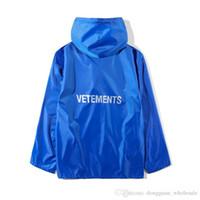 Wholesale raincoat fashion women resale online - 2018 Best Quality VETEMENTS Women Men Long Style Jacket Raincoat quality a1 Hiphop Oversized Jackets Coat Blue Green Raincoat