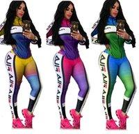 terno marcial venda por atacado-Mulheres Designer Treino Gradiente Dois Pants Pedaço Define retalhos rosa Vestuário casual Carta Magro atadura terno Ladies Top E Sportswear