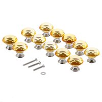 armário de cozinha hardware bronze venda por atacado-12 pcs Amarelo 30mm de Vidro De Cristal de Diamante Maçanetas de Cozinha Armário de Armário Armário Gaveta Maçanetas Móveis Hardware