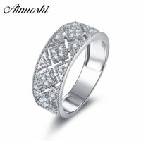Wholesale wedding art deco jewelry resale online - AINOUSHI Vintage Style Hollow Cross Wedding Ring Art Deco Jewelry Pure Silver Ring WomenArt Deco Anillo Mujer Y200106