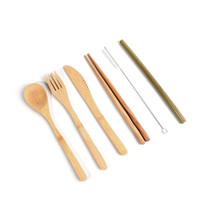 hölzernes besteck großhandel-Holz Bestecke Messer, Gabel, Löffel Essstäbchen Besteck Set Bambus Stroh Geschirr Sets mit Stoff-Tasche Reisen 6piece = 1set