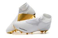 cr7 ayakkabı beyaz toptan satış-2019 Yeni Gelen Beyaz Altın Toptan Futbol Cleats Ronaldo CR7 Orijinal Futbol Ayakkabıları Phantom VSN Elite DF FG Futbol Çizmeler