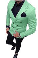 esmoquin fresco al por mayor-Cool Groomsmen Esmoquin de novio cruzado Vestido de novia para hombre Chaqueta de hombre Blazer Cena de baile Traje de 2 piezas (chaqueta + pantalón + corbata) A172