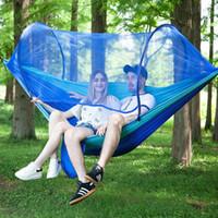 schnelle betten großhandel-Vollautomatische, schnell öffnende Bettnetz-Hängematte für Einzelpersonen im Freien mit doppeltem Nylon-Fallschirm. Camping-Anti-Moskito-Hängematte