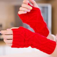 halbfingerhandschuhe großhandel-1 Paar Winterhandschuhe Frauen Doppelseitige Strickwolle Halbfingerhandschuhe Damen Halbfinger Lieben