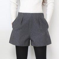 bot cepleri toptan satış-Geniş Bacak Kış Şort Kadınlar Yün Boots için Şort Şeker Renkler Cepler Kadın Gündelik Giyim ile Gevşek Kısa Pantolon Yukarı Zip