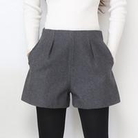 Wide Leg Winter Shorts für Frauen Wolle Stiefel Shorts Süßigkeit Farben Zip Up lose kurze Hosen mit Taschen Female Casual Wear