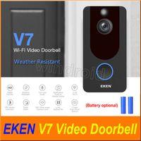 zeki kapı zili toptan satış-EKEN V7 HD 1080 P Akıllı Ev Video Kapı Zili Kamera Kablosuz Wifi Gerçek Zamanlı Telefon Video Bulut depolama Gece Görüş PIR Hareket Algılama