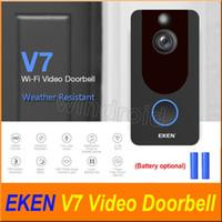 cámaras en tiempo real al por mayor-EKEN V7 HD 1080P Cámara de timbre de video inteligente para el hogar Wifi en tiempo real Teléfono de video Nube de almacenamiento Visión nocturna PIR Detección de movimiento