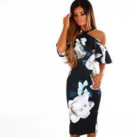 tasarımcı parti elbiseleri satışı toptan satış-Kadın Giyim Blowout Sıcak Satış Seksi Moda Kadın S Giyim Parti Elbiseler Tasarımcı Elbise Yeni Çapraz kayış Off-omuz Baskı Elbise