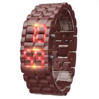 ingrosso orologi da polso in metallo-2019 New Iron Samurai Metal Bracelet LAVA Orologi LED Electronic Digital Orologio sportivo Hour Montre Reloj Relogio Orologio da polso