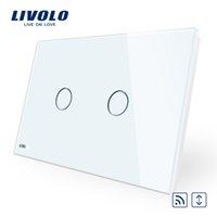ingrosso telecomando livolo-Livolo AU / US Crystal White standard di pannello di vetro, CA 110 ~ 250V, telecomando wireless cortina Interruttori, interruttore di tocco per la casa