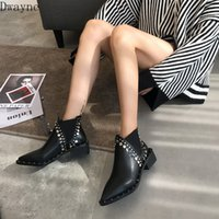 Wholesale decorative boots for sale - Group buy 2019 autumn new boots women Fashion simple solid color rivet decorative tip toe thick heel punk style casual boots