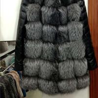 кожаные шубы женские оптовых-Fashion Fashion Winter Women Imitation  Fur Coat PU Leather Long Sleeve Jacket Keep Warm Outwear Lady Casual Overcoat S-3XL G