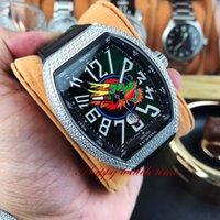 Wholesale best watch diamonds mens resale online - Best Edition V45 SC DT Dragon King Dial Silver Diamond Case Automatic Mechanical Movement Mens Watch Black Leather Strap Designer Watches