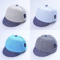 chapéu liso do bebê da borda venda por atacado-Bebê Crianças Stripe Short Brim Plana Casquette Hat Sun Protection Cap Moda Causal
