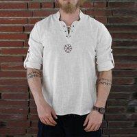 moda rahat erkek gömlekleri toptan satış-Erkek Yaz Gömlek Yeni Stil Moda Kişilik Pamuk-keten Saf Longsleeved Üst keten gömlek erkek gömlek casual slim Fit