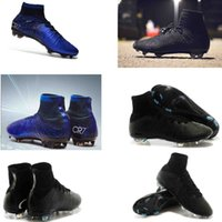 Wholesale youth cr7 soccer shoes resale online - High Top Mercurial CR7 Superfly V FG Mens Kids Soccer Shoes blue diamond Boys Football Boots Women Youth Soccer Cleats Cristiano Ronaldo